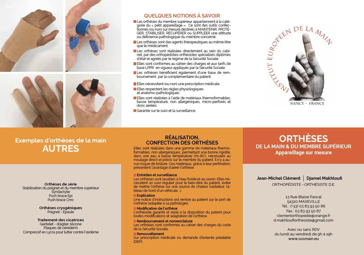 Appareillage de la main - orthèses